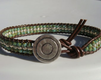 Green Turquoise and Silver Beaded Leather Bracelet