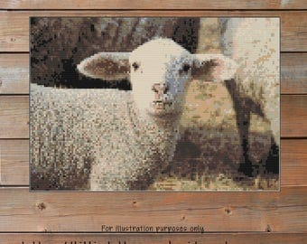 Lamb Crochet Chart - Animal Graph Crochet - Photo Blanket - Corner to Corner - C2C - Written Line Counts - Cross Stitch