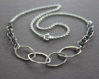 Mix chain and mix colors sterling silver link necklace - Boho necklace - Trendy necklace - Chain necklace - Simple necklace - NK019