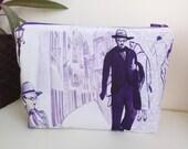 Fernando Pessoa fabric  purse, make up bag , crafts  , handmade,Claudia Candeias, ready to ship
