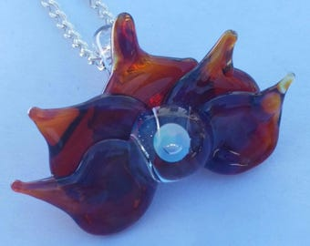 Amber Purple Lotus and opal - Handmade Borosilicate Glass Pendant Necklace