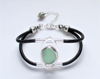 Sea Glass Jewelry - Sterling Aqua Sea & Leather Glass Bracelet