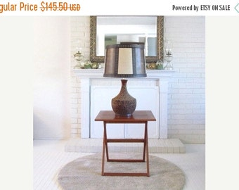 On Sale Vintage Cork Table Lamp with Colorblock Textured Shade, boho 1970s