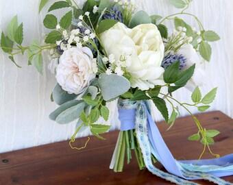 Something Blue Wedding Bouquet | Wild and Loose | Silk Flower Bridal Bouquet | SG-1020