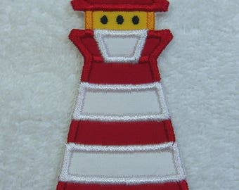 Lighthouse Patch Fabric Embroidered Iron On Applique Patch Ready to Ship