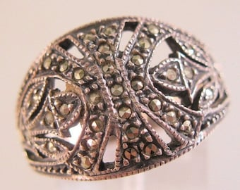 SALE NOW ON Ends 2/27/16 Judith Jack Edwardian Style Sterling Silver Marcasite Cigar Band Dome Ring Size 10 Vintage Jewelry Jewellery