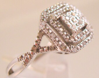 Art Deco Style Genuine Diamond 1/3ct Ring Sterling Silver Engagement Ring Vintage Jewelry Jewellery