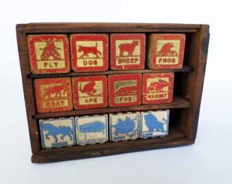 Vintage Child's Blocks, Vintage Wooden Blocks, Animal Blocks Set, Vintage Toy Blocks