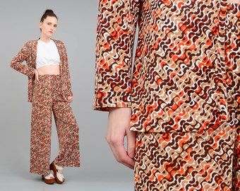 Vintage 70s OP ART Pantsuit Two Piece Outfit Geometric High Waist Pants + Jacket Orange Brown Small Medium S M