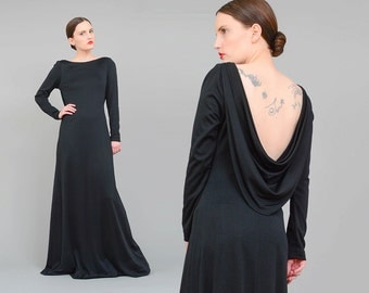 70s Black Maxi Dress, Open Back Cowl Neck Gown, Long Sleeve Minimalist Dress, Witchy Goth Maxi, 70s Formal Gown - S M