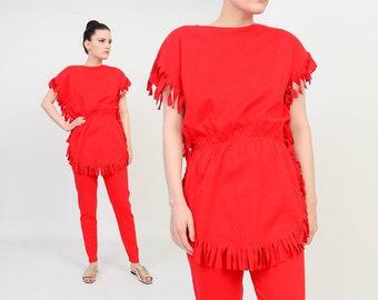 Deadstock Vintage 80s Pantsuit - Red T-shirt - Boho Fringe Shirt - High Waist Leggings - Red Pants - Two Piece Set - size Medium M
