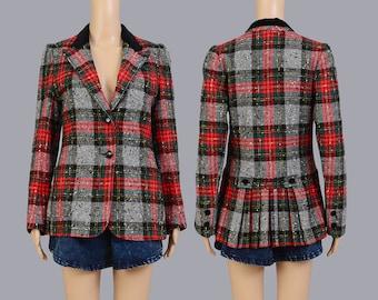 Vintage 70s Plaid Blazer | Scottish Tartan Plaid Jacket | 1970s Wool Blazer Preppy Tailored Jacket | Red Black Velvet | Small Medium S M