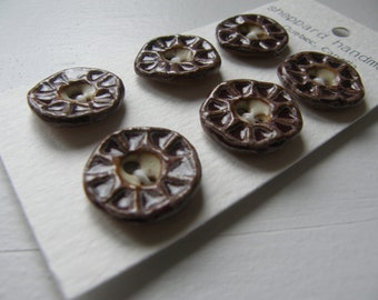 burgundy textured handmade ceramic buttons