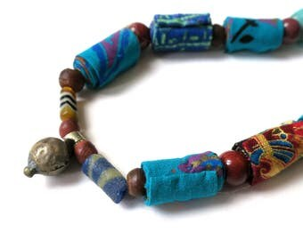Turquoise Oriental fiber necklace, turquoise necklace, oriental necklace