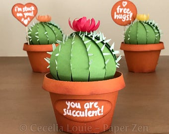 Cactus and Pot - SVG Files - 3D Paper Succulent Party Favor Gift Box