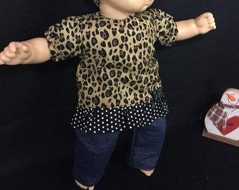 15 Inch Doll Clothes Cheetah Print Shirt Leopard Print Shirt Safari Doll Shirt Doll Jeans Headband Fits Like Bitty Baby or Bitty Twins