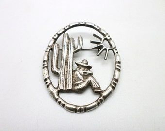 Mexican Silver Pin Brooch Napping Under a Cactus