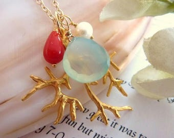 Coral Reef - Aqua Chalcedony Red Coral Pearl Coral Branch Necklace in 14k Gold Filled Chain