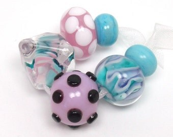 Lampwork beads  -  Eclectics in Pink and Turquoise  -  aqua blue, violet, blush, island paradise blue, teal, loose glass beads