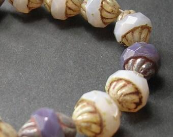 Purple Mix w/ Picasso Czech Glass Turbine Beads (11mm) - Czech Beads