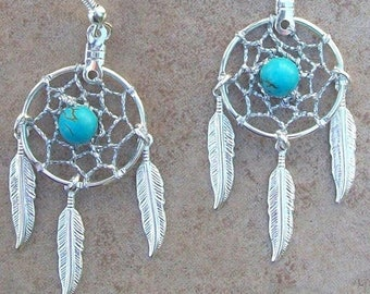 ON SALE Dream catchers & Turquoise with three feathers