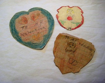 1935 Valentines, Handmade Vintage Valentines, Homemade Valentines,Vintage School Valentines,Vintage Children's Valentine,1930's Valentines