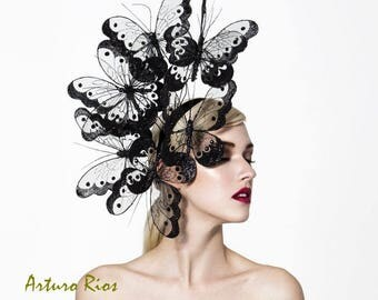 Black butterflies headpiece, couture butterfly fascinator, derby fascinator, melbourne cup fascinator