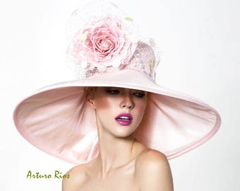 Blush Pink kentucky derby hat, Blush dery hat, Couture derby hat