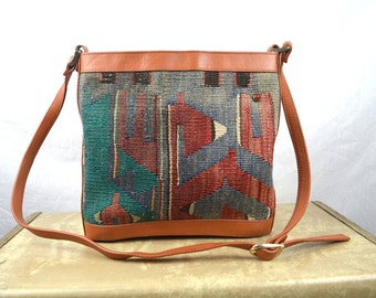 Beautiful Vintage Kilim Ethnic Woven Purse Bag