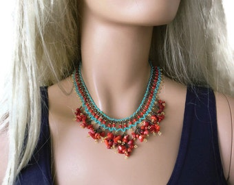 Coral and turquoise beaded bohemian necklace-One of a kind