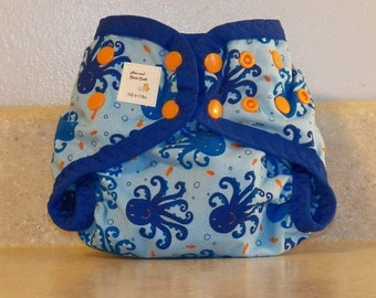 Preemie Newborn PUL Diaper Cover with Leg Gussets- 4 to 9 pounds- Octopus- 20028