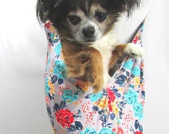 Pet Dog Sling Carrier FLoral and Grey