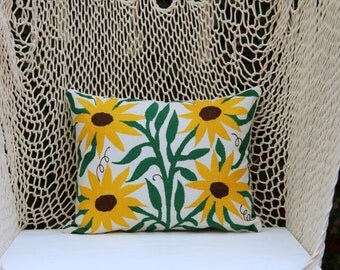 Sunflower Pillow Sham-Otomi Embroidery Ready to ship.