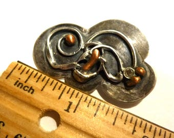 "Sterling Silver Brutalist Pin. Vintage Brooch. Signed ""STERLING"" with Mystery Maker's Mark. 1.75"" long."