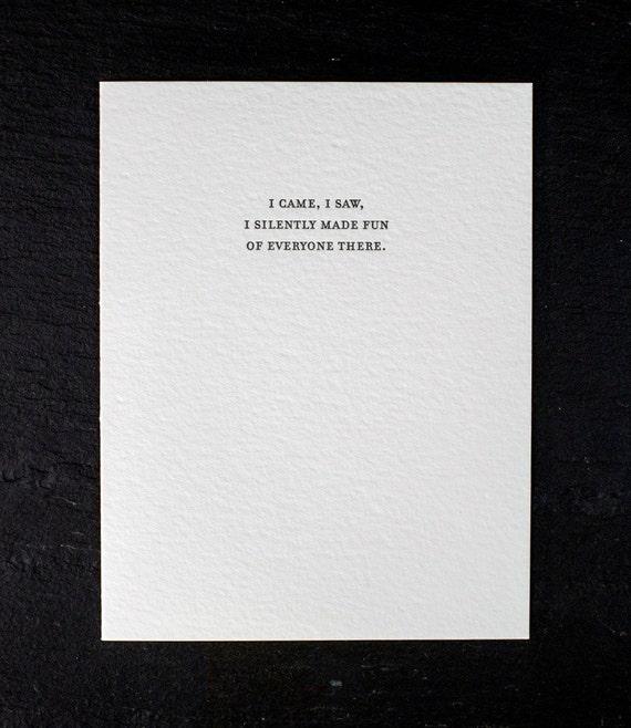 i came, i saw. letterpress card. #819