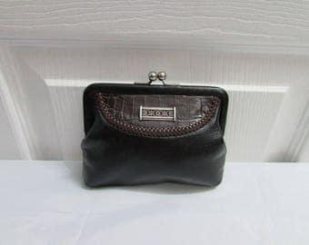 Vintage Brighton Black Brown Leather Kiss Lock Coin Change Purse