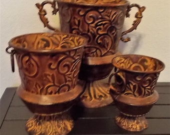 3 Metal Planters, Porch Decor, With Handles, Bohemian Decor, Rustic Home Decor,Copper Color, 1990s Never Used, Painted Metal Pots,Large Pots