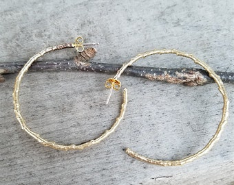 twig earrings brass hoop earrings branch hoops