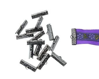 150 pcs.  22mm  (7/8 inch)  Gunmetal Ribbon Clamp End Crimps - Artisan Series