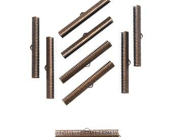 50pcs.  50mm  (2 inch) Antique Copper Ribbon Clamp End Crimps - Artisan Series