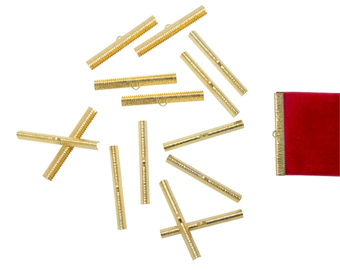 150pcs.  50mm  (2 inch) Gold Ribbon Clamp End Crimps - Artisan Series