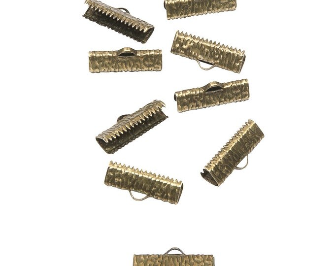 50 pcs. - 20mm or 3/4 inch Antique Bronze Ribbon Clamps - Artisan Series