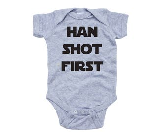 Apericots Funny Han Shot First Cute Soft Cotton Short Sleeve Infant Bodysuit