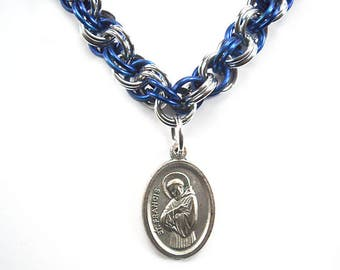 Saint Francis necklace, Religious medal jewelry, St. Francis medal, Patron saint of animals, Catholic jewelry, Chainmaille double spiral