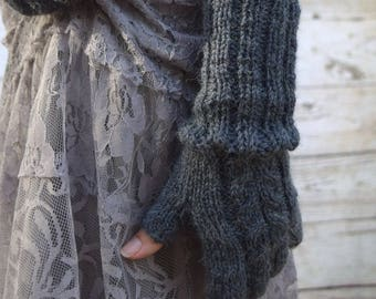Knit fingerless gloves alpaca acrylic dark gray longer cuff gift for her Mothers Day birthday Chrismas warm mittens womens accessories