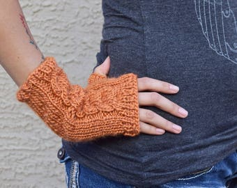 Fingerless gloves knitted arm warmers pumpkin orange girls gloves gift for her womens accessories hand knit Fall fashion girlfriend gift