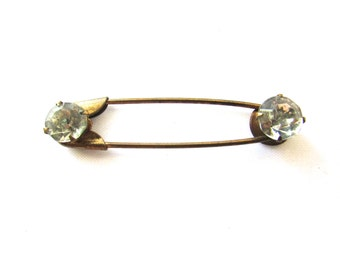 Vintage Rhiestone Safety Pin Brooch Laundry Kilt Gold Tone Assemblage Jewelry Supply Paste