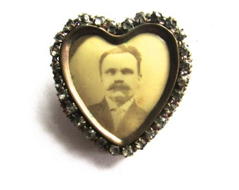 Heart Memory Photo Pin Brooch Locket Paste Victorian Rhinestone Frame Sepia Mourning Jewelry Antique Paste