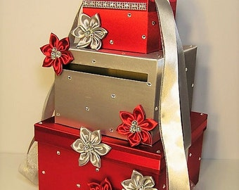 Wedding  Card Box Red and Silver Gift Card Box Money Box Holder.-Special Custom order.Customize your color