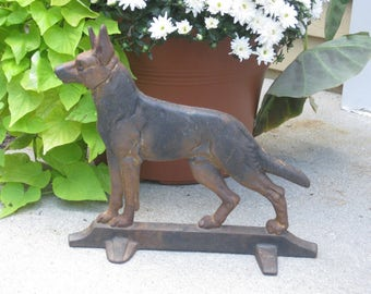 Vintage Cast Iron German Shephard Dog Doorstop, Wedge Heavy Metal Decorative Collectible Animal Figurine Home Decor